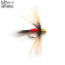 MNFT 10 adet 14 # altın Beadhead uzun sakal Nymph kırmızı vücut balıkçılık sinek yapay yem