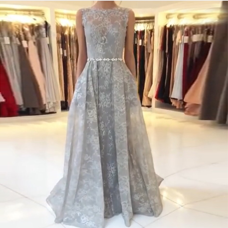Illusion Long   Prom     Dresses   A-line Lace Formal Party   Dresses   2019 Elegant Diamonds Beaded Sash Sweep Train Women   Prom   Gowns 2019