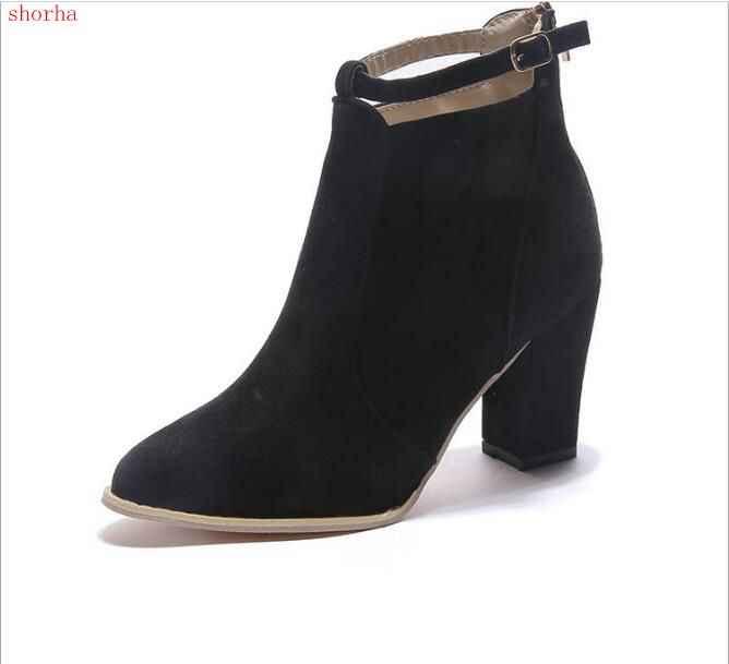 Nuevos zapatos de mujer de gamuza salvaje Otoño Invierno botas de moda de mujer tacones altos de cuero de las mujeres botas de tobillo Sexy puntiagudos