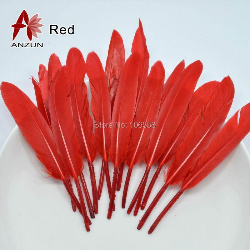 50 Pcs 10-15 Cm Ganzenveren Craft Feather Voor Diy Thuis Kerst Decoratie Kleding Accessoires Rood