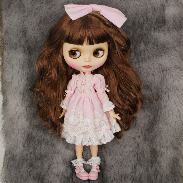 Factory Neo Blythe Doll Jointed Body Premium Combo Blythe + Pink Dress + Pink Shoes
