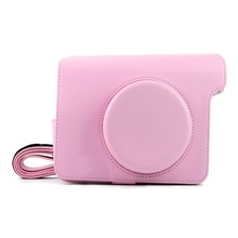 PU Leather Bag Case Cover Pouch Protector & Shoulder Strap for Fujifilm Instax Wide 300 Instant Print Camera Pink