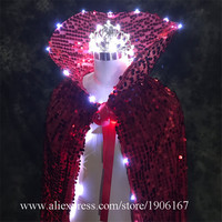 Fashion Led Luminous Evening Party Dress Led Crown Halloween Cloak Light Up Stage Performance Christmas Costumes