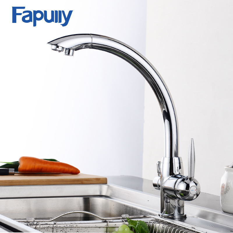 Fapully Chrome Polished Kitchen Faucet 3 Way Brass Dual Handles Kitchen Tap Water Cold and Hot Water Faucets Mixer 572-33C 100% brass chrome polished hot and cold water purifier tap 3 way kitchen sink mixer faucet 2 holes drinking water tap kf042