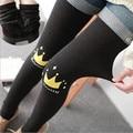 2016 Cute Thick Winter Cartoon Warm Velvet Leggings For Women Fitness Gothic Black Christmas Legins MF485136