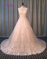 Dreagel Romantic Strapless Lace Up A Line Wedding Dress 2017 New Arrival Delicate Lace Appliques Wedding