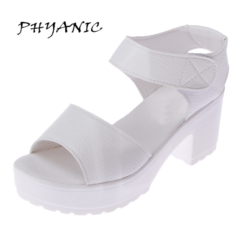 PHYANIC Women summer shoes white Black fashion platform soft PU sandals women's high-heeled shoes thick heel sandals PHY4105 phyanic 2017 gladiator sandals gold silver shoes woman summer platform wedges glitters creepers casual women shoes phy3323