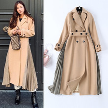 Korean style elegant womens overvoat 2018 winter high quality patchwork double breasted coat Women D966