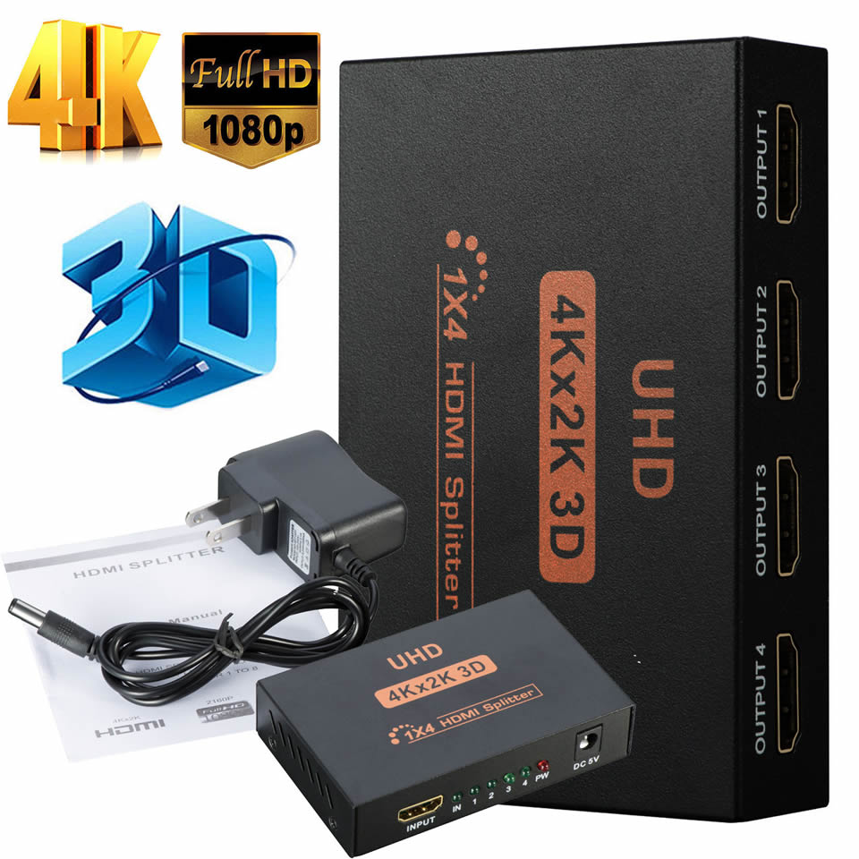 4K HDMI Splitter Full HD 1080P Video HDMI Switch Switcher 1 in 2 1 in 4 out HDMI Amplifier Dual Display For HDTV DVD PS3 Xbox