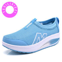 Classic 2018 New Summer Breathable Mesh Comfortable Swing Legs Increased Platform Slip Lightweight Cushioned Casual Shoes