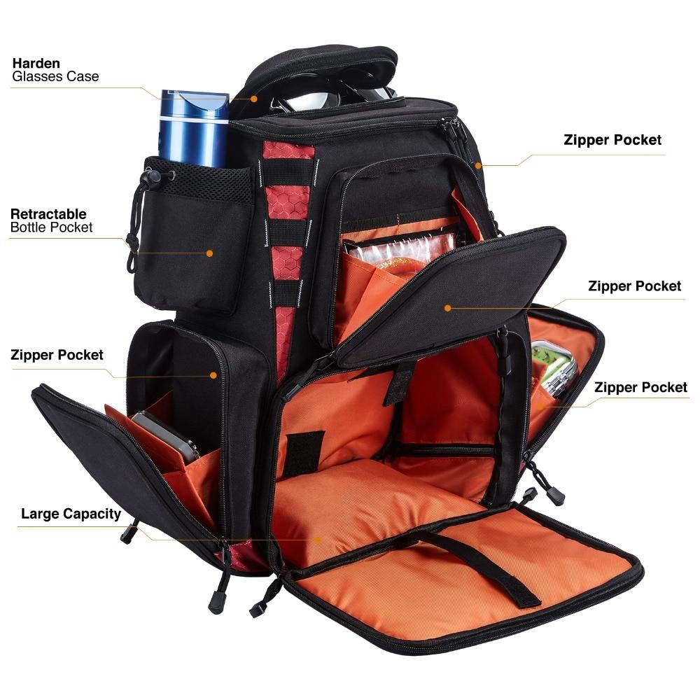 Piscifun Fishing Tackle Backpack Waterproof Tackle Bag Trays Storage Outdoor Fishing Bag Protective Rain Cover(no tackle boxes) - 3