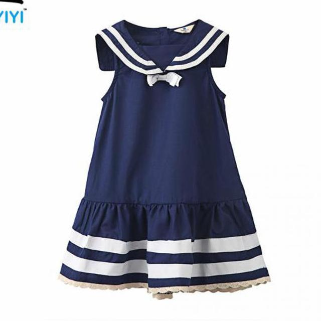 7ccdc8be708f Vestidos 2016 Fashion Design Retail Striped Girl Dresses Navy Girl ...