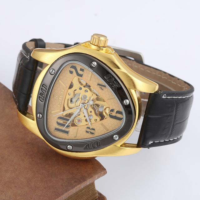 6cd66b46e48 GOER Relogio Masculino Watches Mens Triangle Skeleton Mechanical Watches  Men Luxury Watches Automatic Men Designer Watches