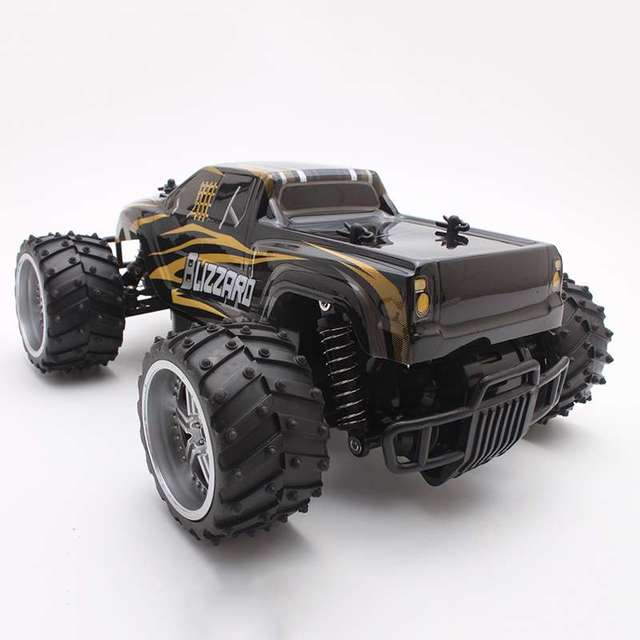 Electric RC Car USB Charger 1:16 Scale Model 4WD Off Road High Speed Remote Control Car (Gold) for Kids Children Gift