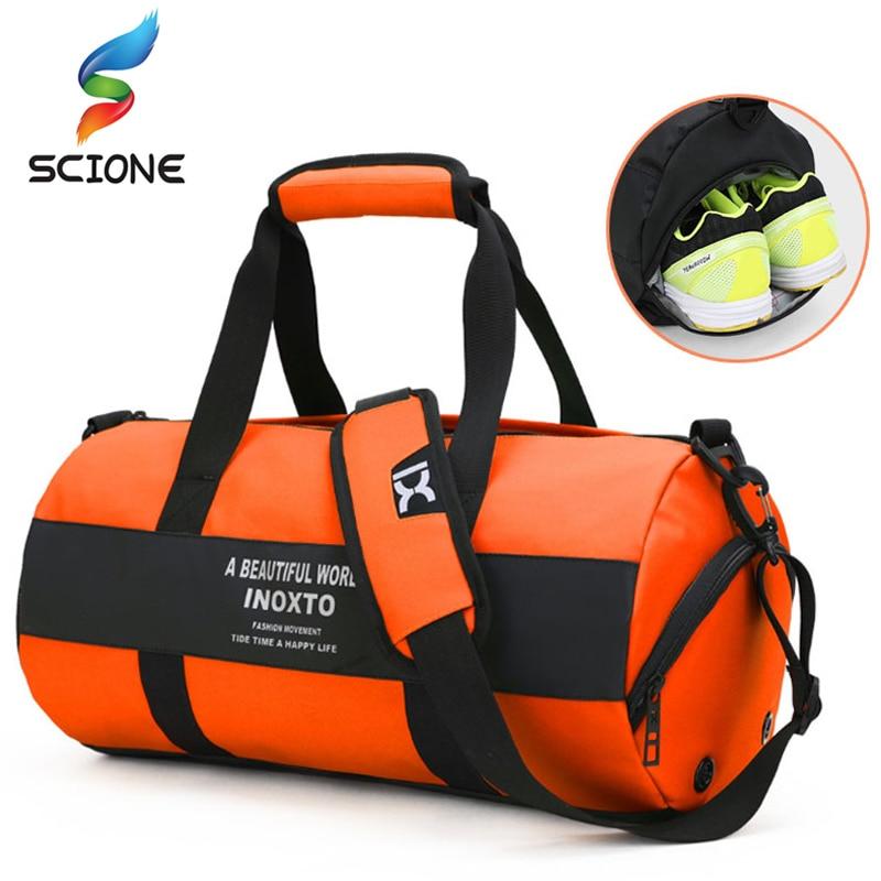 Hot Waterproof Shoulder Sports Gym Bag with Shoes Storage For Women Fitness Yoga Travel Handbag  Men's Training Crossbody Bag Gym Bags     - title=