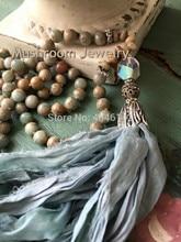 Long Tassel Necklace Knoting Opal African Jaspers Stone Beaded Sari Silk Ladies Boho
