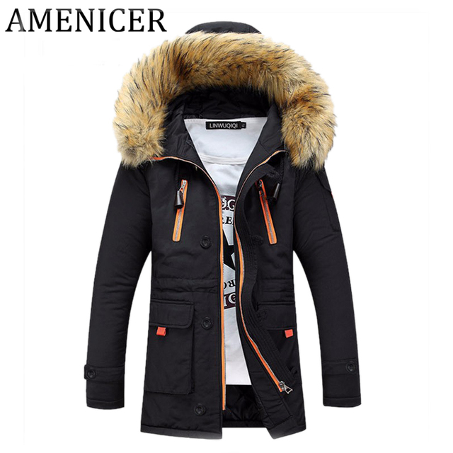1e24ddc335fea Men Parka New Casual Fashion Mens Winter Jackets Stand Collar Hooded  Brand-Clothing Chaqueta De Invierno De Los Hombres