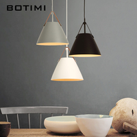 Botimi LED Pendant Lights E27 Hanging Kitchen Lamp Morden Dining Light With Metal Lampshade Bulbs Iron