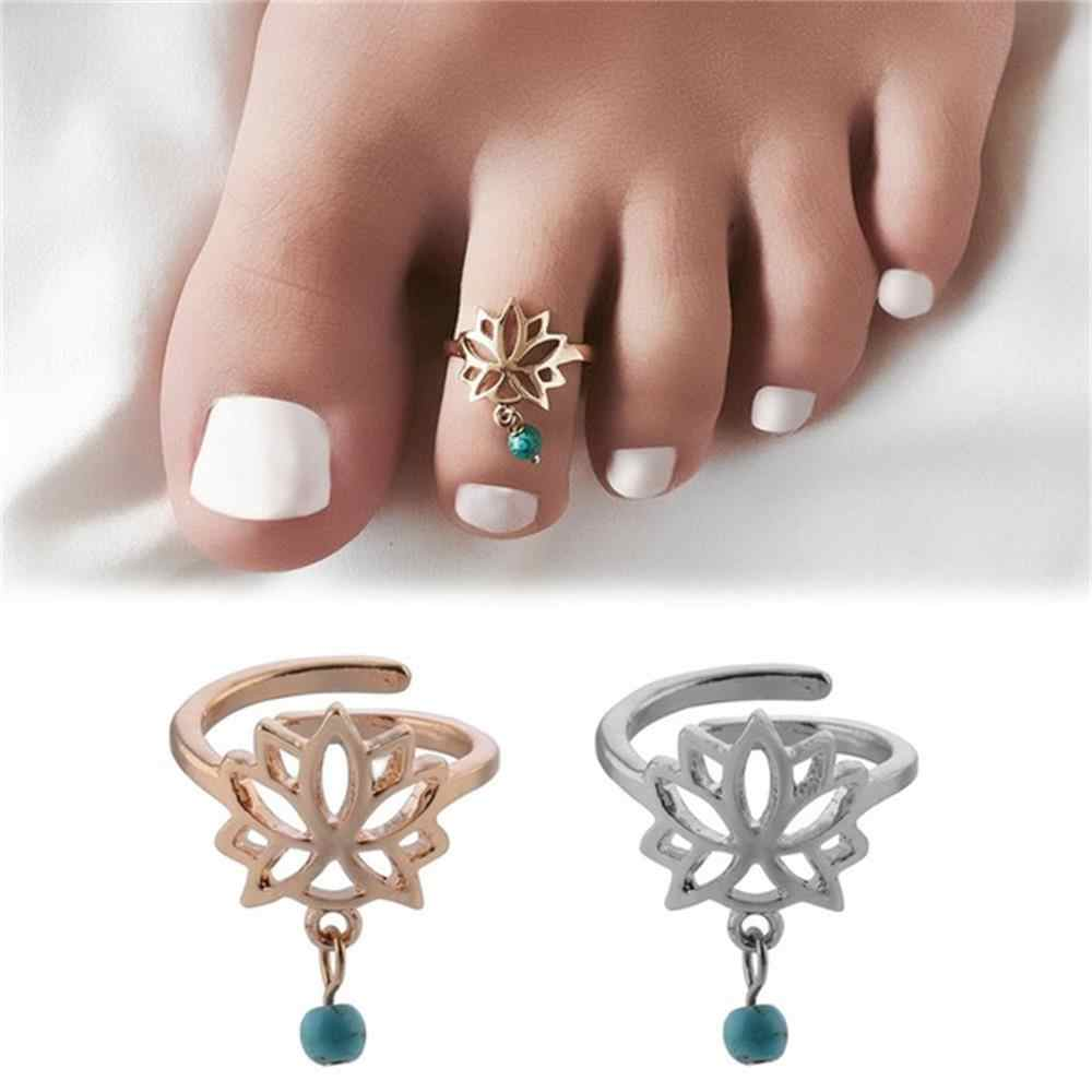 1Pc New Women Summer Lotus Flower pattern Toe Adjustable Ring Vintage Silver Gold Open Foot Finger Ring Bohemian Beach Jewelry