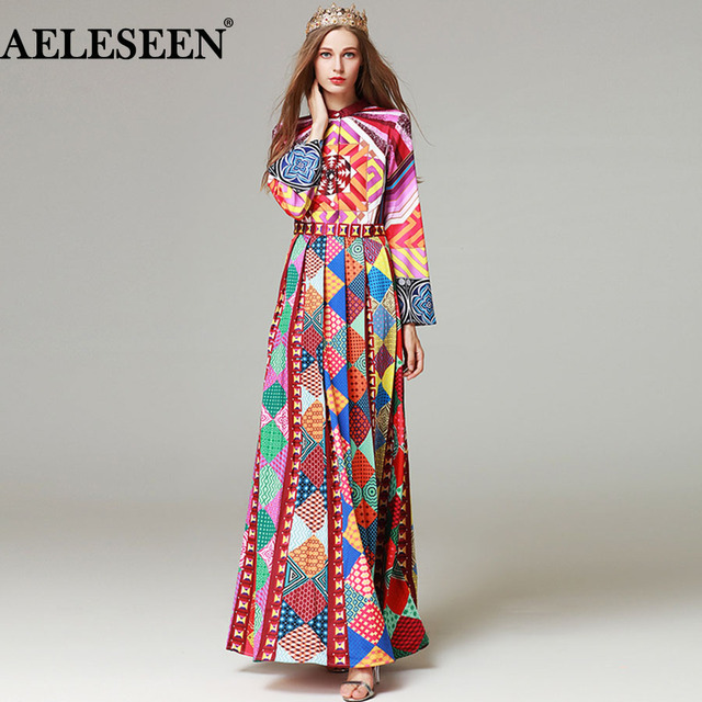 AELESEEN 2018 Runway Womens Fashion Pleated Long Sleeve Maxi Dress High  Quality Geometric Print Vintage Party Designer Long Dres 9030b747a737