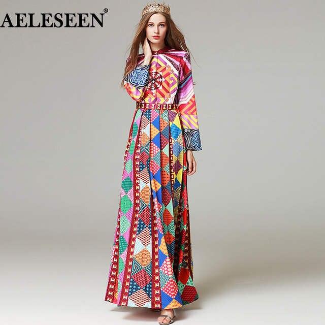 Online Shop AELESEEN 2018 Runway Womens Fashion Pleated Long Sleeve Maxi  Dress High Quality Geometric Print Vintage Party Designer Long Dres  8ae8f4fd0d40