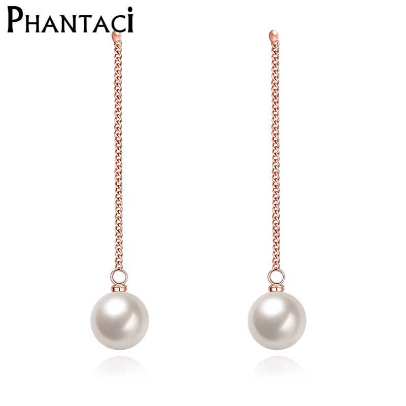 2016 New Female Statement Long Pearl Drop Earrings Rose
