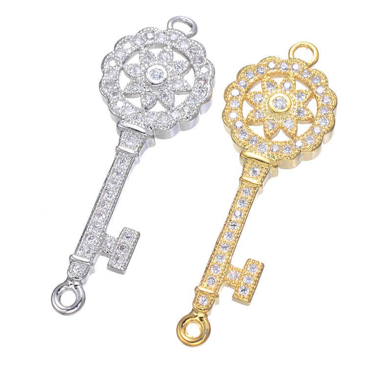 Nuevo diseño único Micro Pave CZ flor y llave Micro incrustaciones moda zirconia pulsera conector para las señoras encanto primera elección