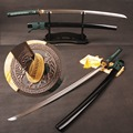 Completa Tang Dobrado Aço Temperado Barro Samurai Japonês Espada do Katana Damasco Lâmina Pode Cortar Árvore Real Hamon Afiada Pronto para batalha