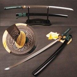 Pieno Tang Giapponese Samurai Spada Katana Damasco Lama Può Tagliare Albero Piegato In Acciaio Temperato Argilla Reale Hamon Sharp Pronto per battaglia