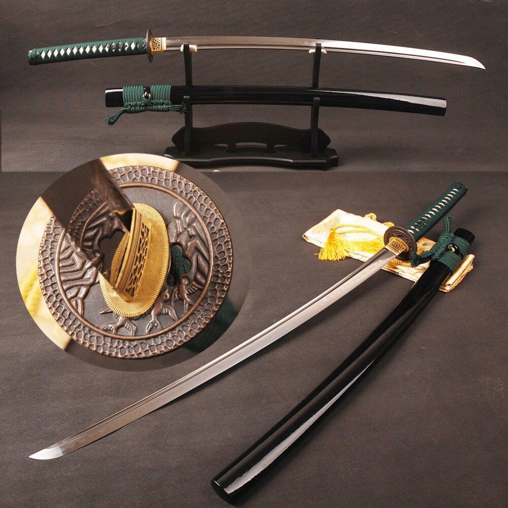 Pleine Saveur Japonaise Samurai Épée Katana Damas Plié Acier Argile trempé Lame Peut Couper L'arbre Réel Hamon Forte Prêt pour bataille