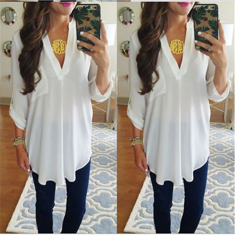 Spring Summer New Womens Tops Blouses Plus Size Shirt Woman Fashion Casual Loose Pullovers Office Lady Chiffon Clothes Promotion in Blouses amp Shirts from Women 39 s Clothing