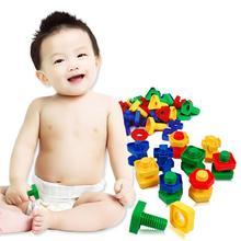 40 шт./компл. 3DD детские цветные винт и гайка Строительная головоломка игры интеллигентая(ый) Детская игрушка призрак сборка гайка ходового винта комплект деревянный Монтессори