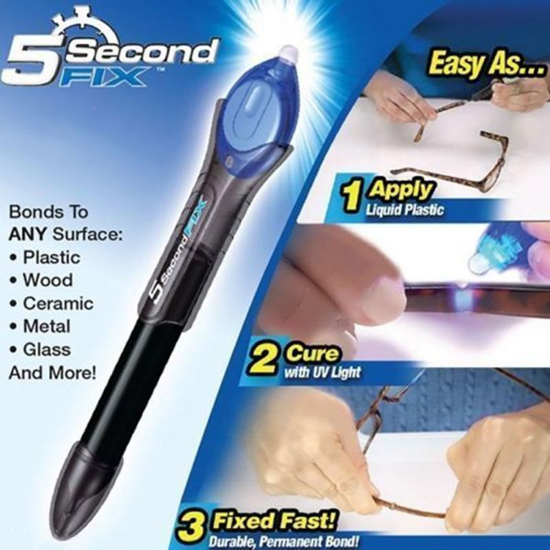 1 Pcs 5 Second Fix UV Light Repair Tool With Glue Super Powered Liquid Plastic Welding Compound