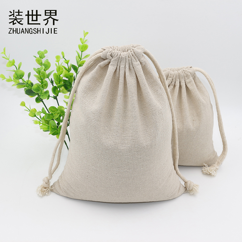 5pcs/lot  17cm*22.5cm Custom Logo Print Cotton Linen Bag Pouch Drawstring Bags Food  Bags Christmas Jewelry Pouches