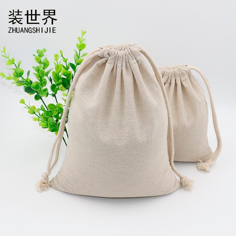 5pcs/lot  17cm*22.5cm Custom Logo Print Cotton Linen Bag Pouch Drawstring Bags Food  Bags Christmas Jewelry Pouches