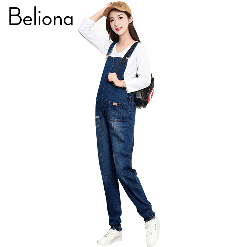Designers Holes Denim Blue Maternity Pants Jeans for Pregnant Women Plus Size Pregnancy Overalls Jumpsuits Autumn Spring Winter plus size pants the spring new jeans pants suspenders ladies denim trousers elastic braces bib overalls for women dungarees