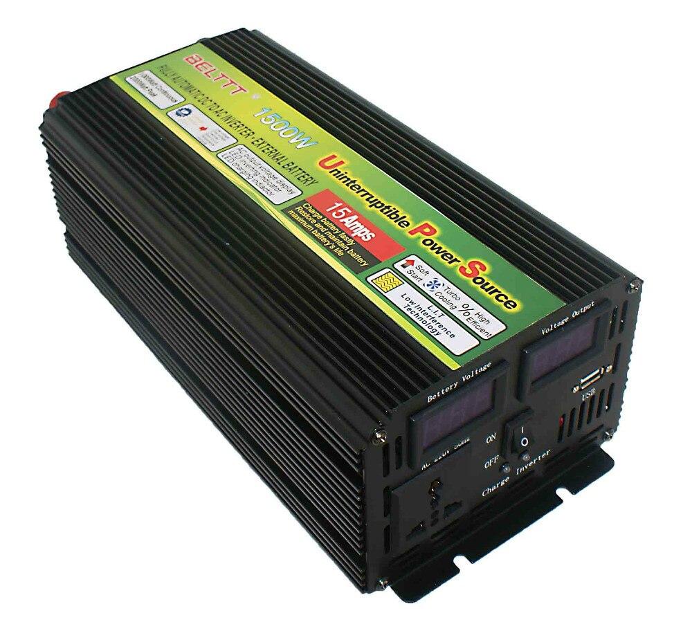 Solar power inverter 1500 watt 3000 watt Peak power inverter schaltung 12 v 220 v mit AC ladegerät
