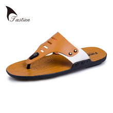TASTIEN Leather Men Flip Flops Summer Sandals Men's Male Brand Designer Slippers For Seaside Beach Casual Walking Sildes