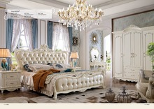 Muebles は王 2019 パラカサ寝室家具新王女ソフトベッドコンチネンタル彫フレンチ高さボックス革王子