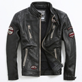 Genuine Leather Coat Embroidery Indian Totem Men's Leather Jacket Motorcycle