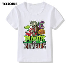TEESCLUB Game Plants Vs Zombies T-shirt Kid Summer Top Girl Boy Casual Round Neck Clothing Children T-shirt Camiseta(China)