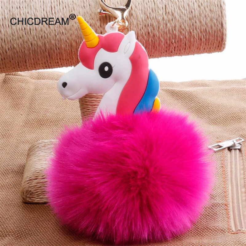 Fluffy Unicorn Pony Portachiavi Pendente Pompon Artificiale Pelliccia di Coniglio Catena Chiave Anello Chiave Dell'automobile Holder Hang Accessori Borsa Per Le Donne