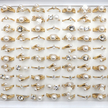 Mixed Design Zircon Jewelry Rings For Girls Gold Color Size 50pcs/lot Wholesale