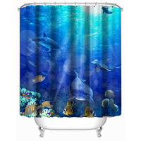 3D Printed Bath Curtain Underwater World Dolphin Shower Curtain Hanging Waterproof Shower Screen Door Curtain Shower