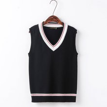 Black Men and women couples Red white stripes Secondary color simple V-neck vest sweater