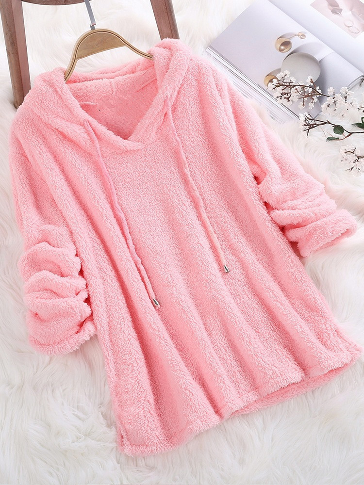 2019 Winter Fleece Sweater Oversized 5XL Sherpa Fleece Fluffy Thin Pullovers Hooded Women Big Size Casual Sweaters