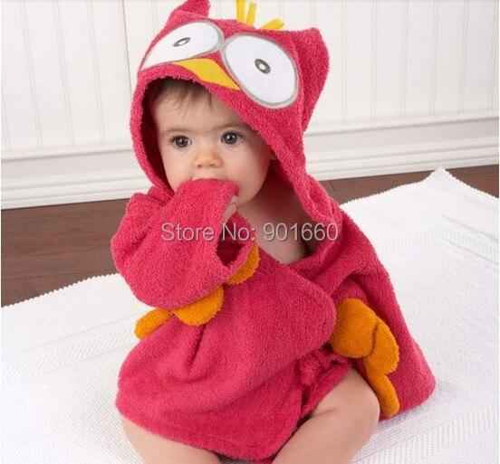 Owl Baby Boy Girl Dressing Gown Splash Wrap Bath Hooded Towel Robe 0-12M 2 Colors