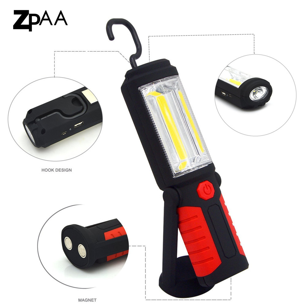 USB Rechargeable Magnetic Work Light Flashlight LED COB Inspect Torch Headlight