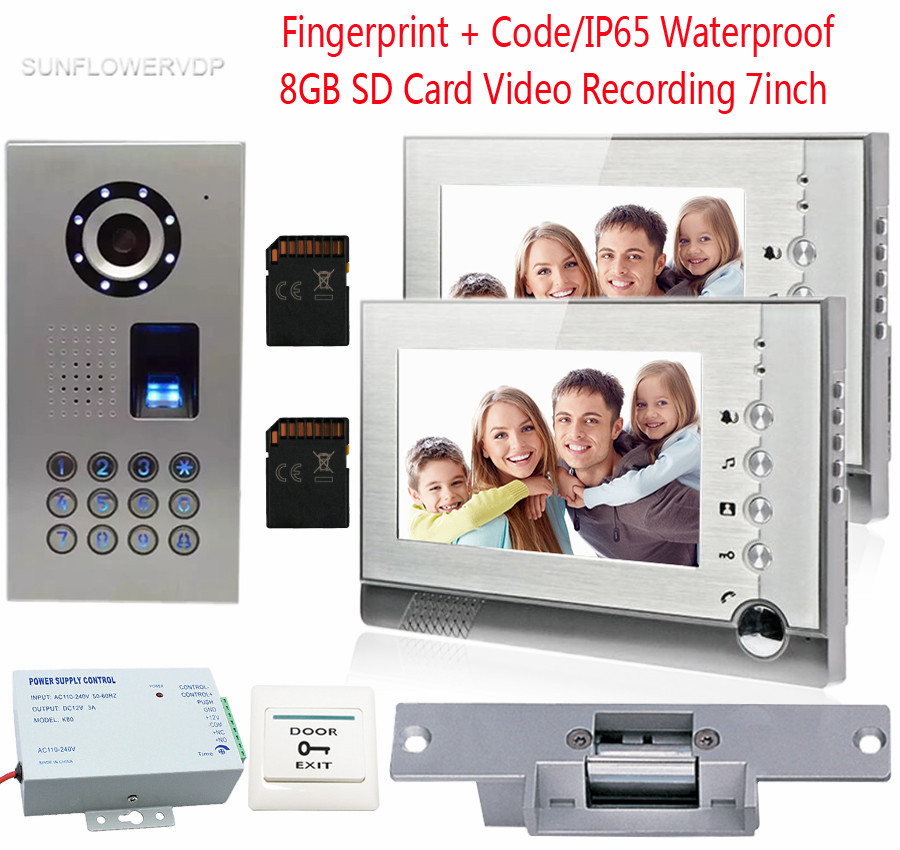 Fingerprint Video Door Phone 2 Monitors 8GB SD Card Recording Night Vision Video Camera IP65Waterproof Code With Electronic lock цена 2017