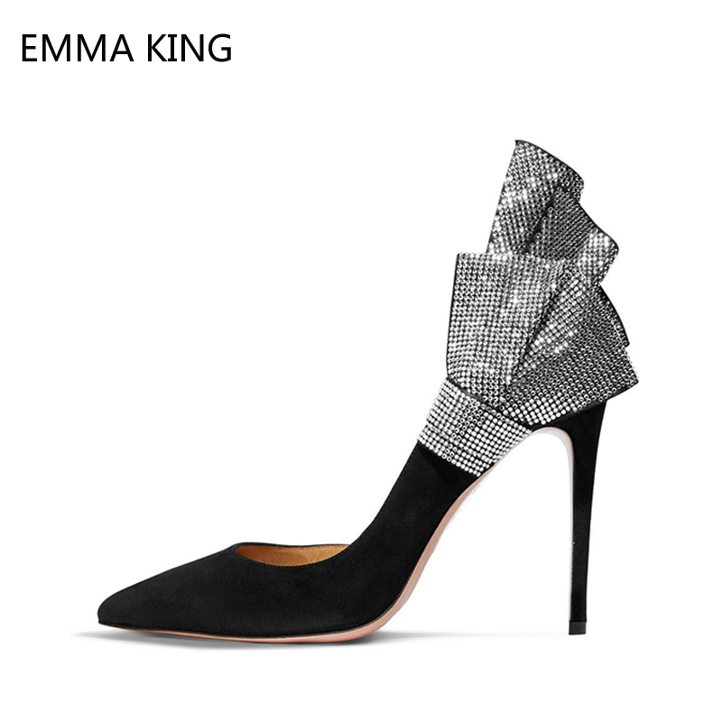 Women Pumps Ruffles Crystal Thin High-heeled Shoes Classic Pointed Toe Black Suede Shoes Ladies Rhinestone Slip On Zapatos MujerWomen Pumps Ruffles Crystal Thin High-heeled Shoes Classic Pointed Toe Black Suede Shoes Ladies Rhinestone Slip On Zapatos Mujer